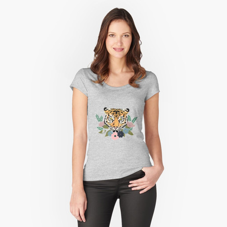 Floral Tiger Fitted Scoop T-Shirt