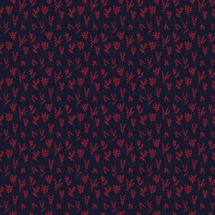Navy Red Branches Fabric