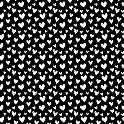 White Hearts on Black Fabric