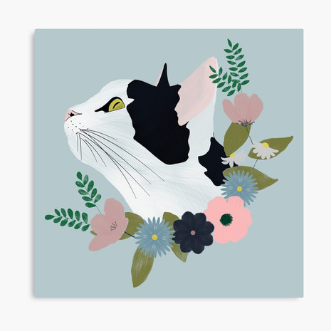 Floral Cat Canvas Print