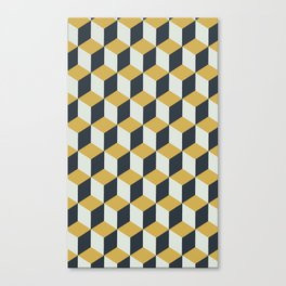 Making Marks Cube Illusion Blue Canvas Print