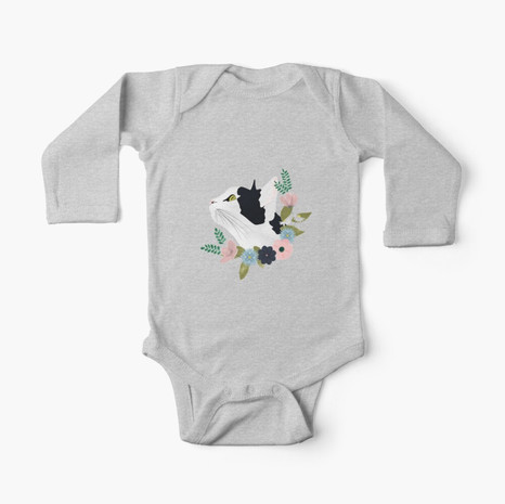 Floral Cat Long Sleeve Baby One-Piece