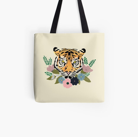 Floral Tiger Tote Bag