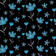 Blue Flowers on Black