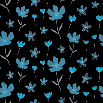 Blue Flowers on Black