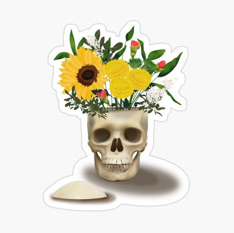 Skull Vase Glossy Sticker