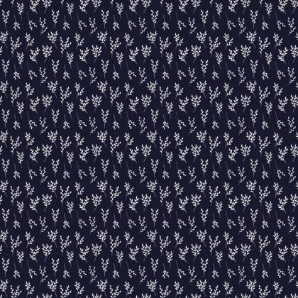 Navy White Branches Fabric
