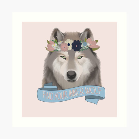 Floral Wolf - Find Your Inner Wolf Art Print