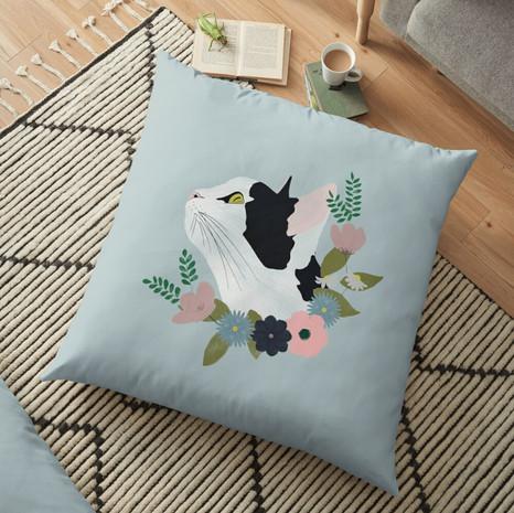Floral Cat Floor Pillow