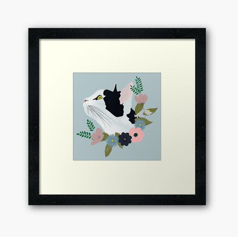 Floral Cat Framed Art Print