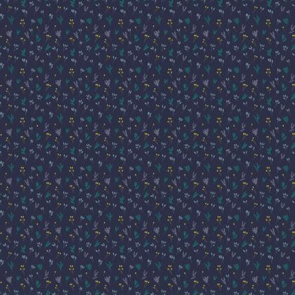 Dark Blue Floral Branches Fabric
