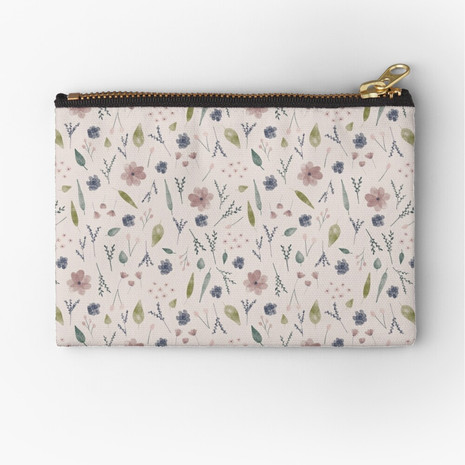 Watercolour Ditsy Floral Zipper Pouch