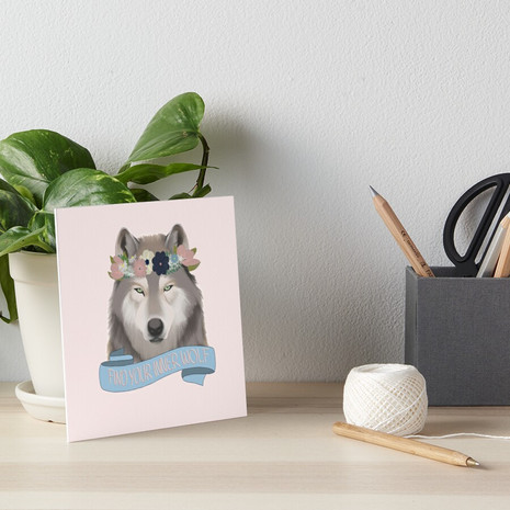 Floral Wolf - Find Your Inner Wolf Art Board Print