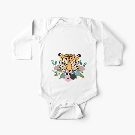 Floral Tiger Long Sleeve Baby One-Piece