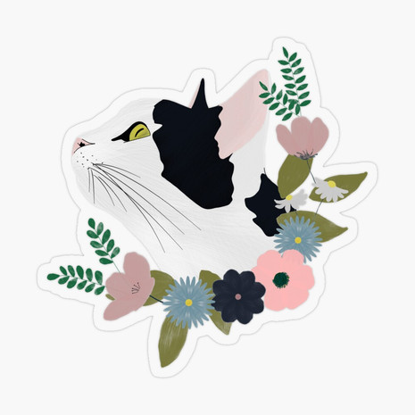 Floral Cat Transparent Sticker