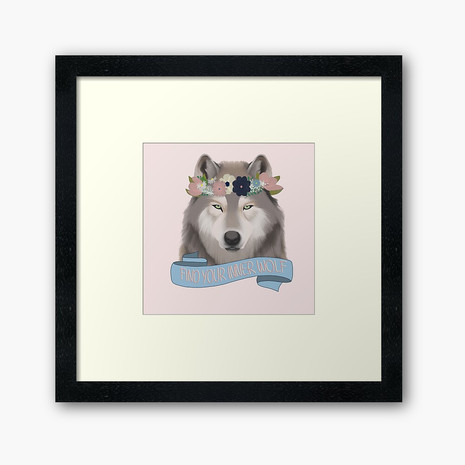 Floral Wolf - Find Your Inner Wolf Framed Art Print
