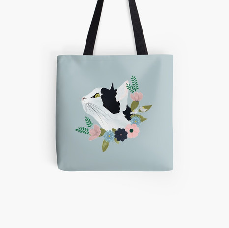 Floral Cat Tote Bag