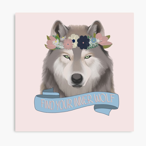 Floral Wolf - Find Your Inner Wolf Canvas Print