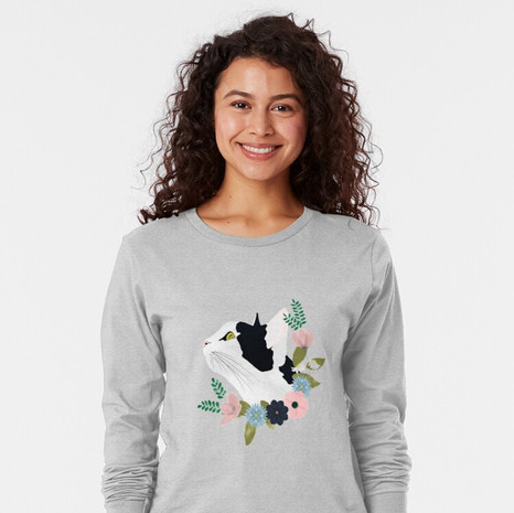 Floral Cat Long Sleeve T-Shirt