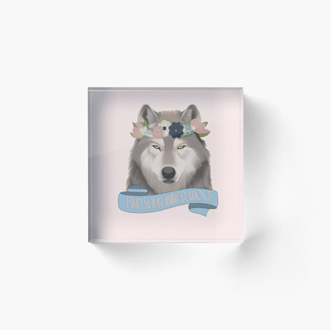 Floral Wolf - Find Your Inner Wolf Acrylic Block