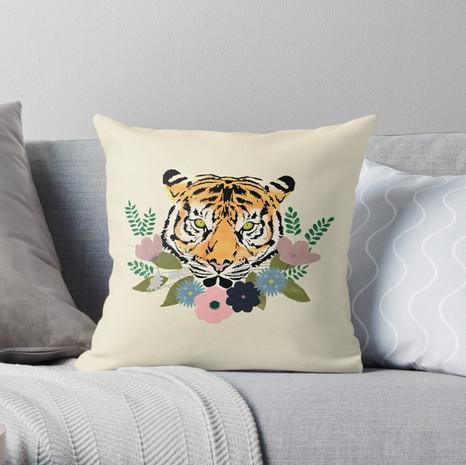 Floral Tiger Throw Pillow