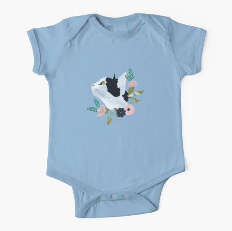 Floral Cat Short Sleeve Baby One-Piece