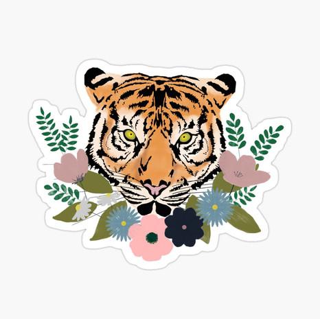 Floral Tiger Sticker