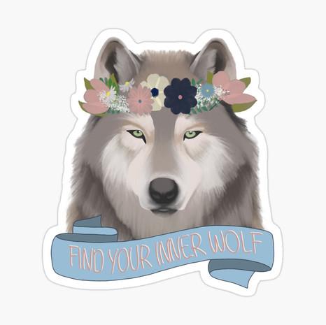 Floral Wolf - Find Your Inner Wolf Sticker