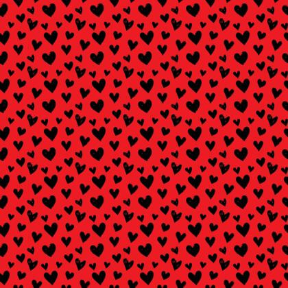 Black Hearts on Red Fabric