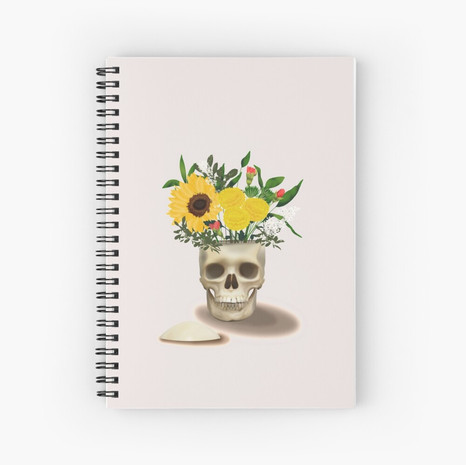 Skull Vase Spiral Notebook