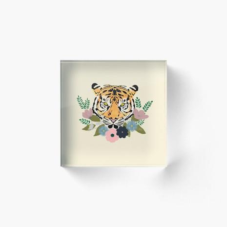 Floral Tiger Acrylic Block
