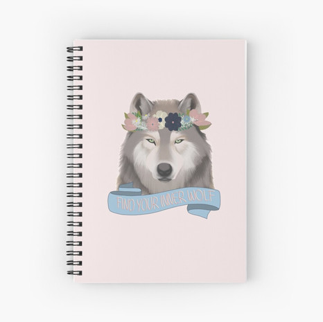 Floral Wolf - Find Your Inner Wolf Spiral Notebook