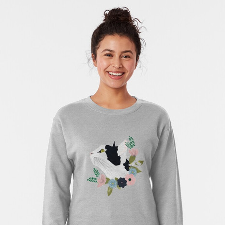 Floral Cat Pullover Sweatshirt