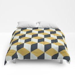 Making Marks Cube Illusion Blue Comforter
