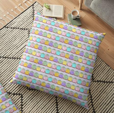 Beach Hut Floor Pillow