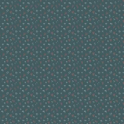 Teal Floral Branches Fabric