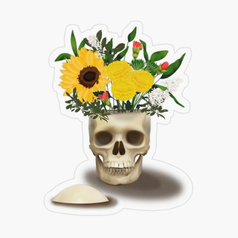 Skull Vase Transparent Sticker