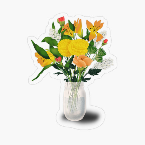 Summer Vase Transparent Sticker