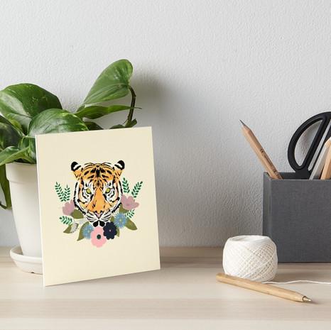 Floral Tiger Art Board Print