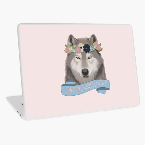 Floral Wolf - Find Your Inner Wolf Laptop Skin