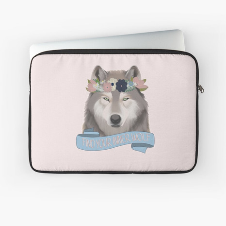 Floral Wolf - Find Your Inner Wolf Laptop Sleeve