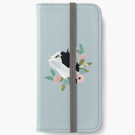Floral Cat iPhone Wallet