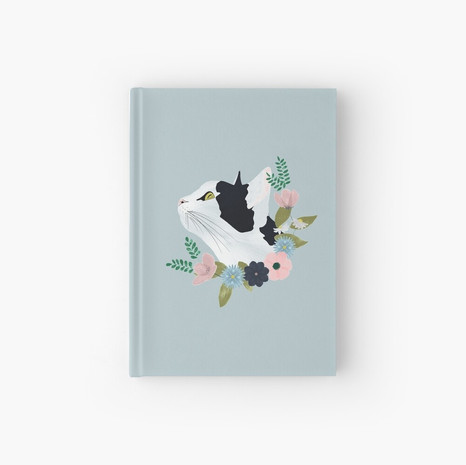 Floral Cat Hardcover Journal