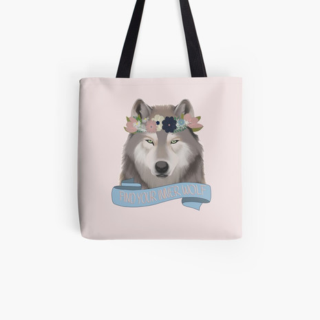 Floral Wolf - Find Your Inner Wolf Tote Bag