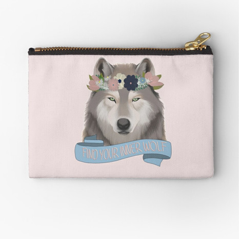 Floral Wolf - Find Your Inner Wolf Zipper Pouch