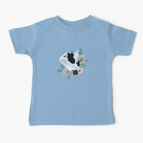 Floral Cat Baby T-Shirt
