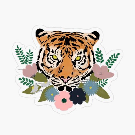 Floral Tiger Transparent Sticker