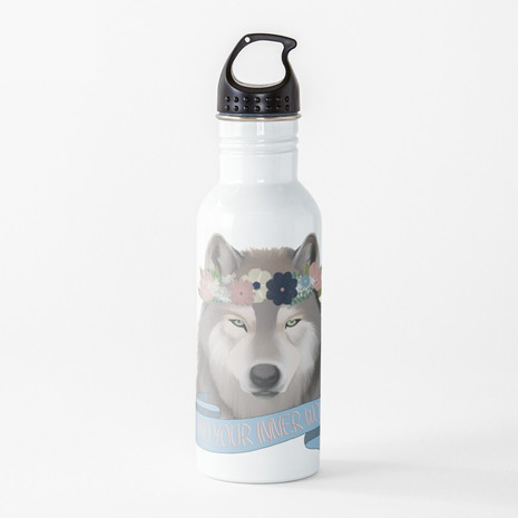 Floral Wolf - Find Your Inner Wolf Water Bottle