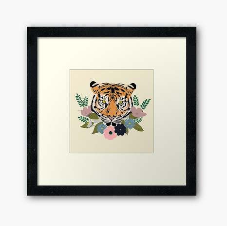 Floral Tiger Framed Art Print