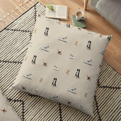 Dog Print Floor Pillow